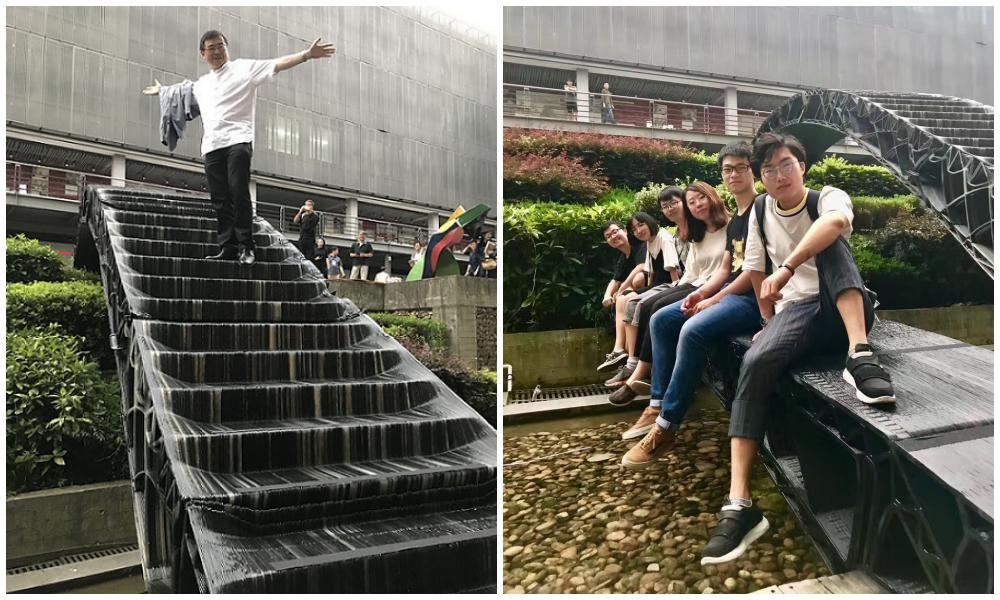 Chinese students installed two 3D printed bridges at the college entrance