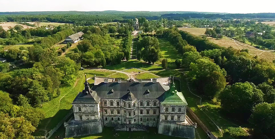 A unique video about an ancient church and a castle in Pidhirtsi shot with a drone