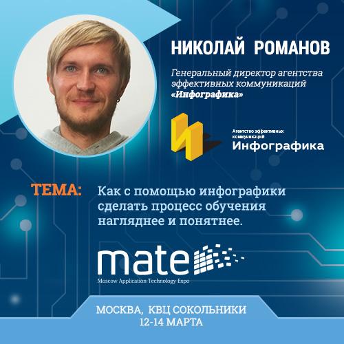 Генеральный директор агентства эффективных коммуникаций «Инфографика» Николай Романов  выступит на конференции в рамках MATE 2015