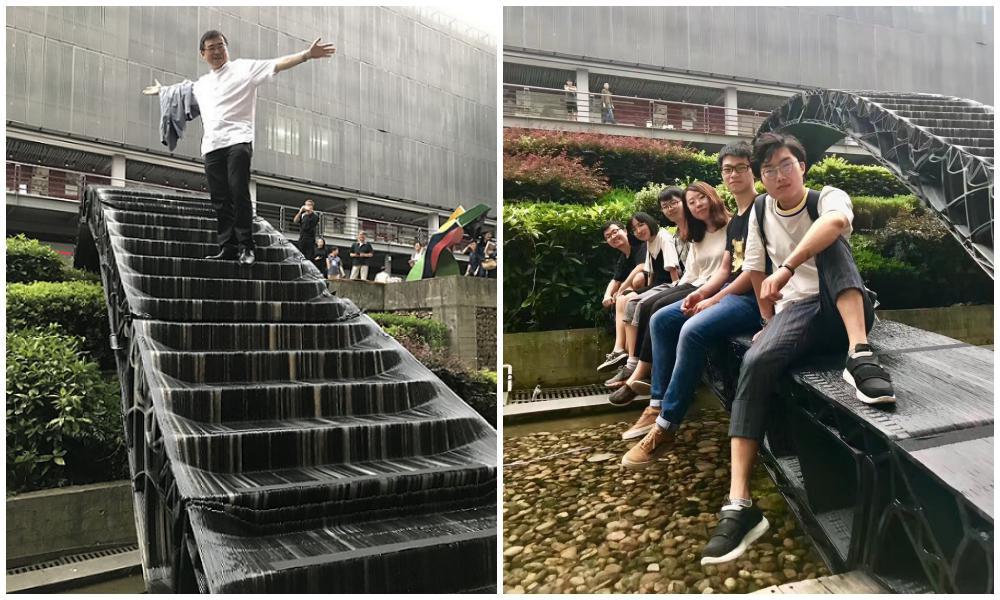 Китайские студенты установили перед входом в колледж два 3D-печатных моста