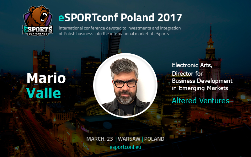 Mario Valle, venture investor of video game AR/VR startups, is eSPORTconf Poland speaker
