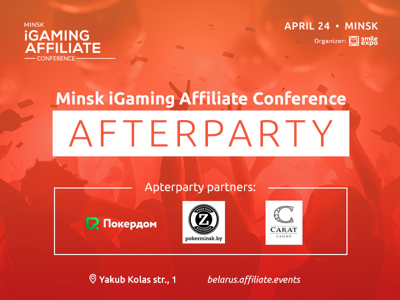 Minsk iGaming Affiliate Conference's party together with Pokerdom, Zett poker club, and Carat casino