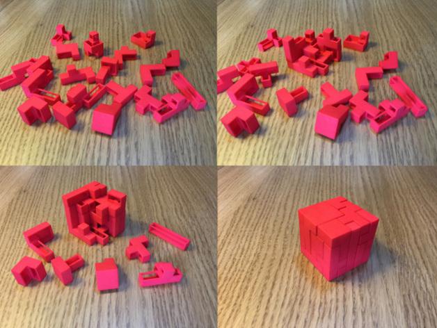 Напечатанная с помощью 3D-принтера головоломка-куб в стиле «Тетрис» захватывает внимание