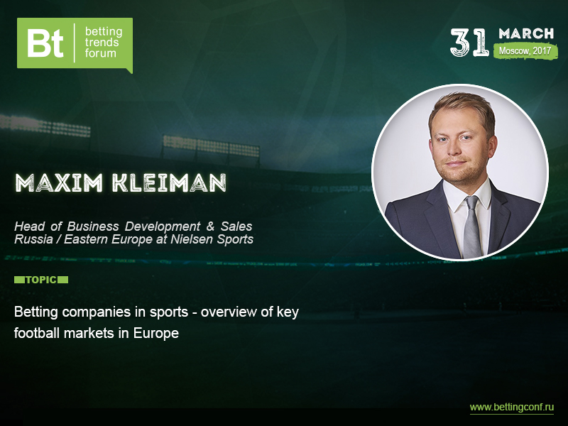 Partnership between betting shops and football clubs is described in Maxim Kleiman's presentation at Betting Trends Forum