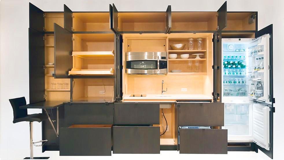 Stealth Kitchen: kitchen hidden in a wall
