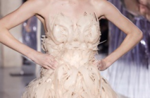 Iris van Herpen 'Biopiracy' 2014: shrink-wrapped models and 3D printed flexible dress
