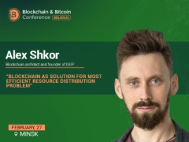 Blockchain architect and DEIP research platform founder Alex Shkor will be speaker at Blockchain & Bitcoin Conference Belarus