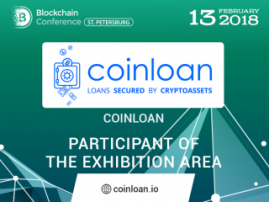 CoinLoan, cryptocurrency loan platform: Exhibition Area Participant at Blockchain Conference St. Petersburg