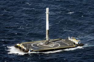Вторая посадка ступени Falcon 9 на воду