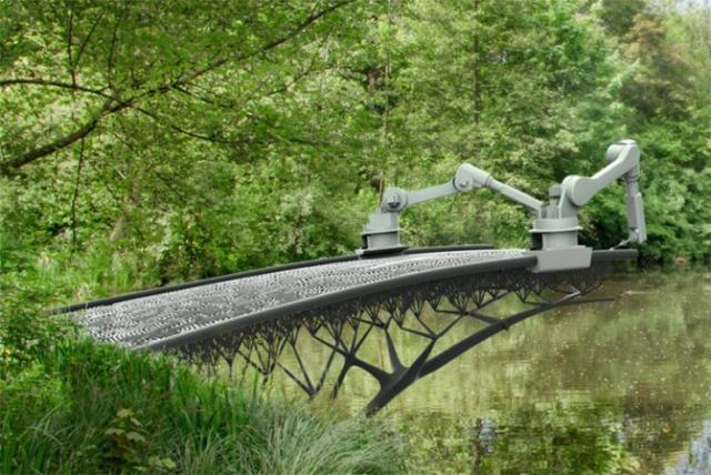 «Антигравитационный» 3D-принтер MX3D-Metal распечатает металлический мост над одним из каналов Амстердама