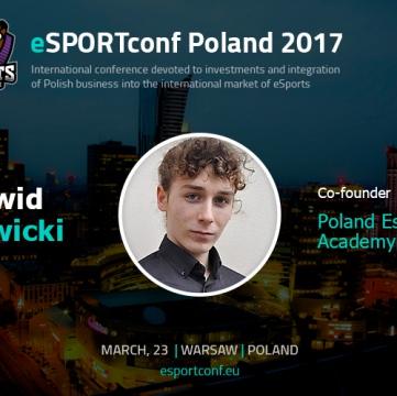 Dawid Sawicki, cofounder at Poland E-sport Academy, will present at eSPORTconf Poland