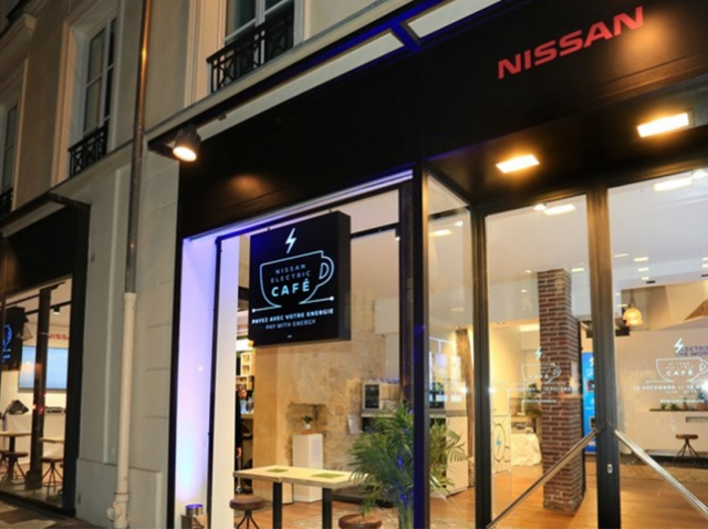 Для популяризации «зеленой энергии» в Париже открыли Nissan Electric Café