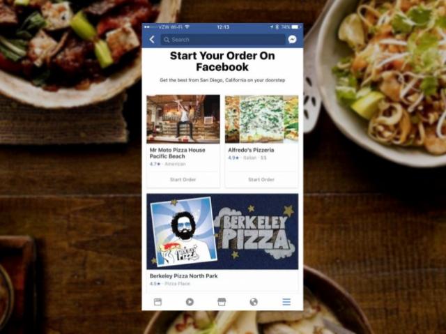 Facebook запустил сервис доставки еды