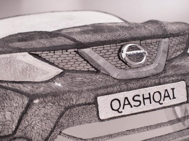 Художники «нарисовали» 3D-ручками полноразмерую скульптуру кроссовера Nissan Qashqai
