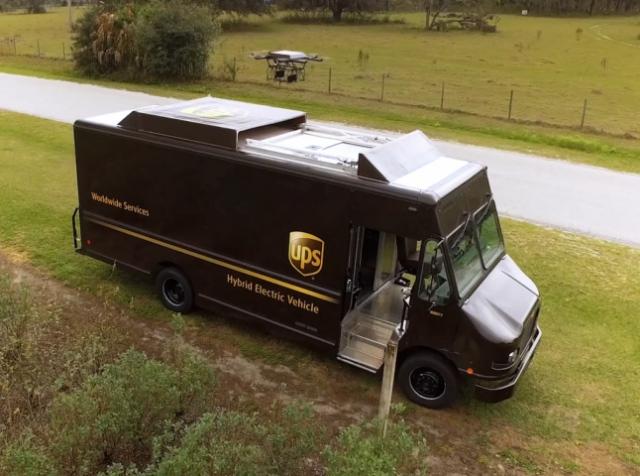 Компания UPS запускает дроны с крыши грузовика