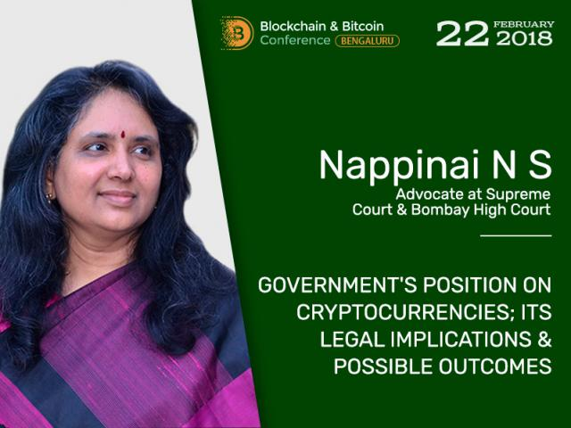 Legal framework of cryptocurrencies in India. Advocate of Supreme Court & Bombay High Court Nappinai N S will highlight the issue at Blockchain & Bitcoin Conference Bengaluru