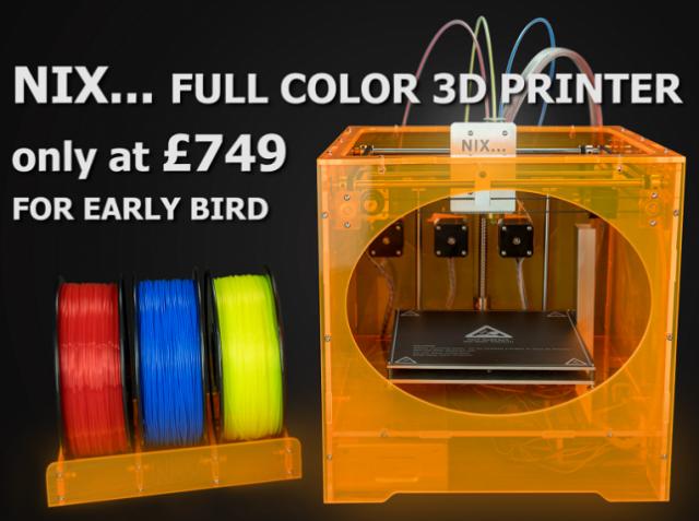 NixTek разработала недорогой настольный 3D-принтер для цветной печати