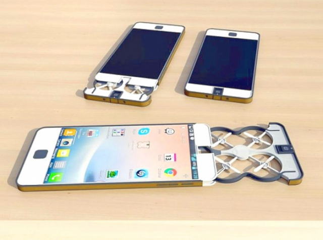 Smartphone with embedded quadcopter for selfie