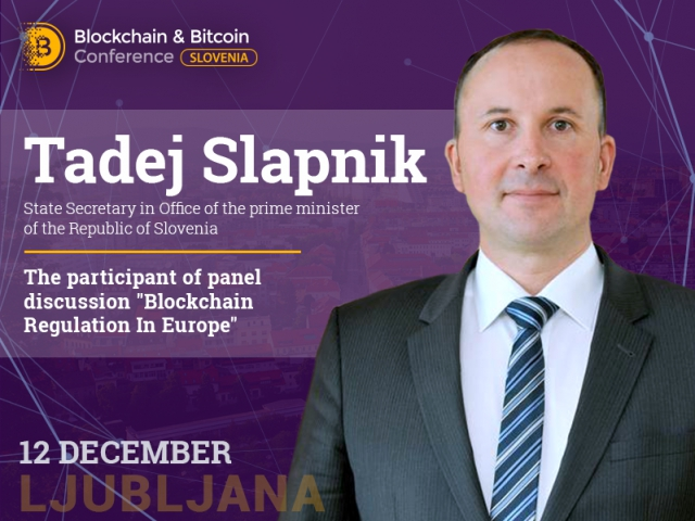 Tadej Slapnik responsible for social economy to participate in discussion: Blockchain Regulation In Europe