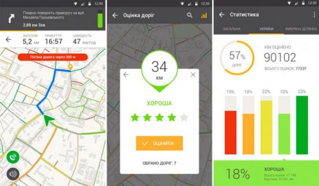 Украинцы создали мобильный навигатор, который определяет качество дорог