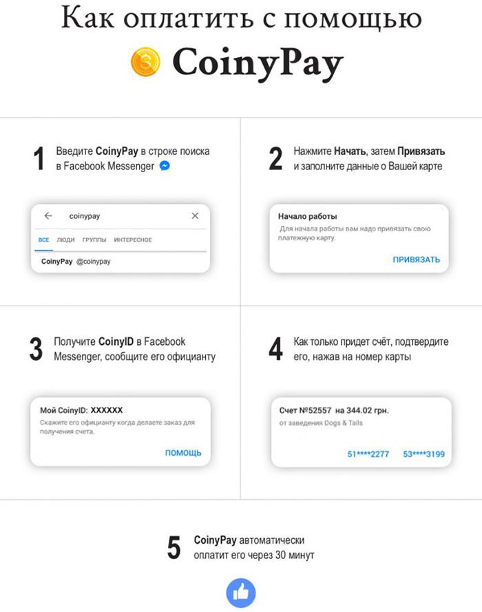Facebook-бот CoinyPay позволяет оплатить счёт в киевских ресторанах, не дожидаясь официанта