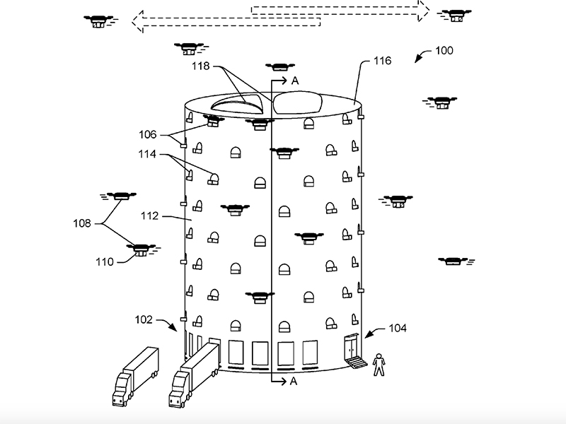 Amazon has applied for a patent for a tower drone hub