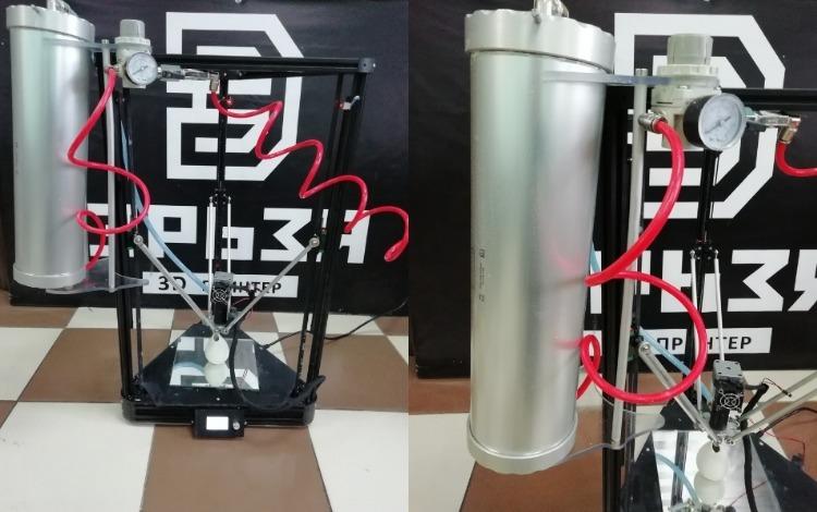 Экспонат выставки на 3D Print Expo: дельта-принтер «Эрьзя», печатающий жидкой керамикой - 1